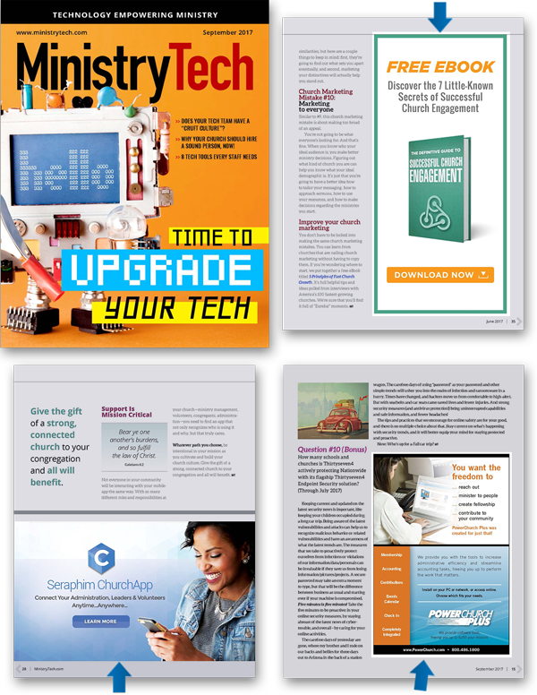 MinistryTech digital print ads